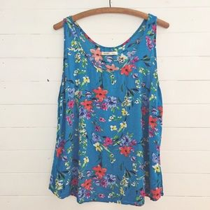 Old Navy Bright Blue Floral Tank XL